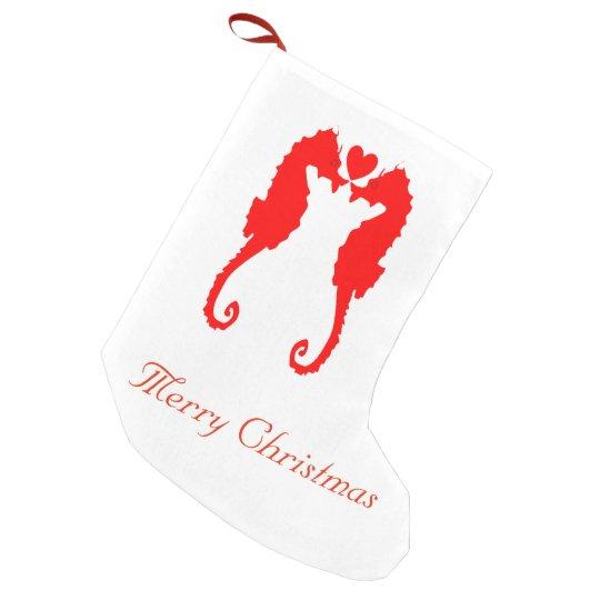 Merry Christmas Seahorse & Heart Small Christmas Stocking