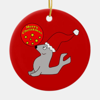 Merry Christmas Seal Ornament
