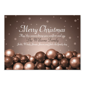 Merry Christmas Sepia Tone Ornaments Flat Card 13 Cm X 18 Cm Invitation Card