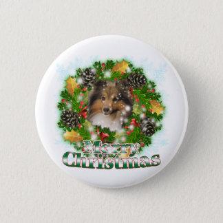 Merry Christmas Sheltie 6 Cm Round Badge