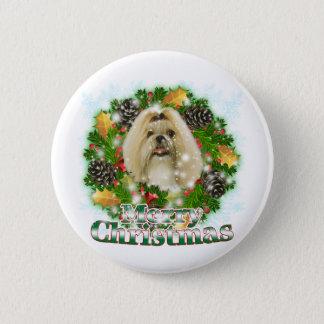 Merry Christmas Shih Tzu 6 Cm Round Badge