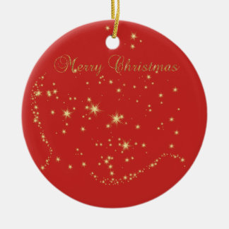Merry Christmas,Shiny Gold Stars Christmas Ornament