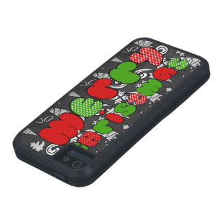 """Merry christmas"" sign with doodle illustration iPhone 5 Case"