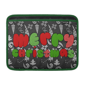 """""""Merry christmas"""" sign with doodle illustration MacBook Sleeve"""