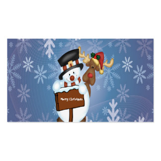 Merry Christmas Sign with Snowman and Reindeer Pack Of Standard Business Cards