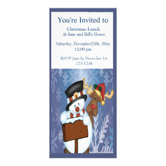 Merry Christmas Sign with Snowman and Reindeer Rack Card