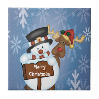 Merry Christmas Sign with Snowman and Reindeer Small Square Tile