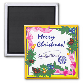Merry Christmas Signed Santa Claus Magnet