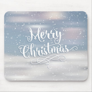 Merry Christmas Silver Blue Snowflakes Holiday Mouse Pad