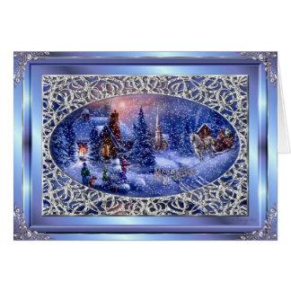 Merry Christmas Silver Christmas Scene Greetng Crd Greeting Card