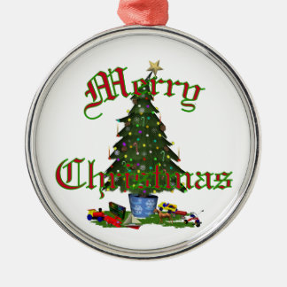 Merry Christmas Silver-Colored Round Decoration