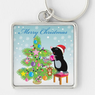 Merry Christmas Silver-Colored Square Key Ring