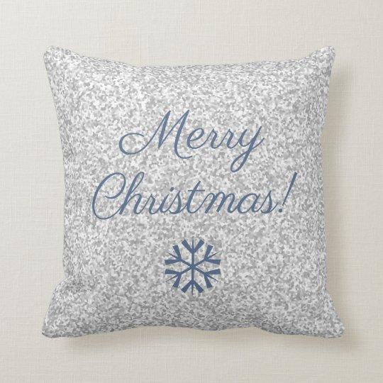 Merry Christmas Silver Grey Glitter Texture Cushion