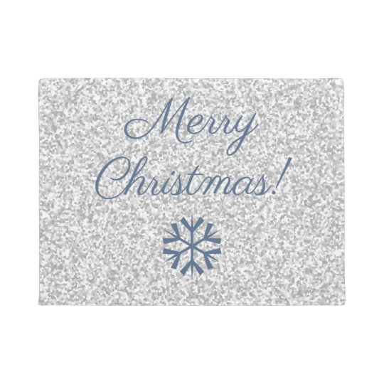 Merry Christmas Silver Grey Glitter Texture Design Doormat