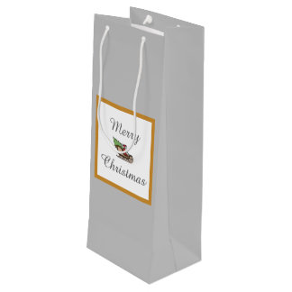 Merry Christmas Silver Wine Gift Bag by Janz