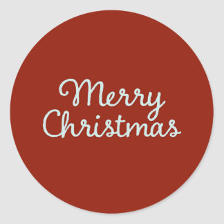 Merry Christmas Simple Calligraphy Round Sticker