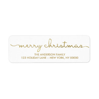 Merry Christmas Simple Gold Hand Lettered Label