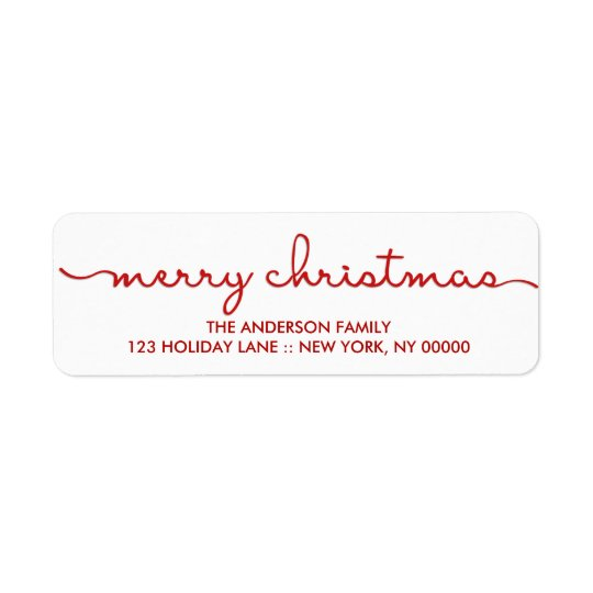 Merry Christmas Simple Hand Lettered Script Label Return