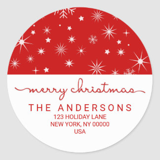 Merry Christmas Simple Handwritten Return Address Classic Round Sticker