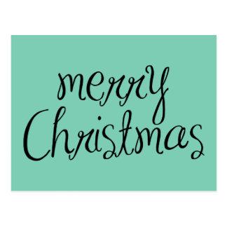 Merry Christmas - simple Handwritten Text Design Postcards