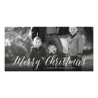 Merry Christmas Simple Script Photo Holiday Card Photo Greeting Card