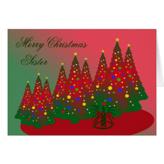 Merry Christmas Sister: Red and Green Tree Greeting Card