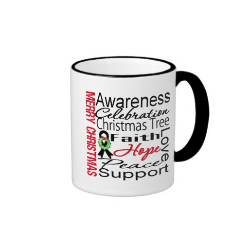 Merry Christmas Skin Cancer Ribbon Collage Coffee Mugs
