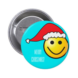Merry Christmas Smiley Santa Hat, Turquoise 6 Cm Round Badge
