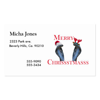 Merry Christmas Snakes In Antlers & Santa Hat Business Cards
