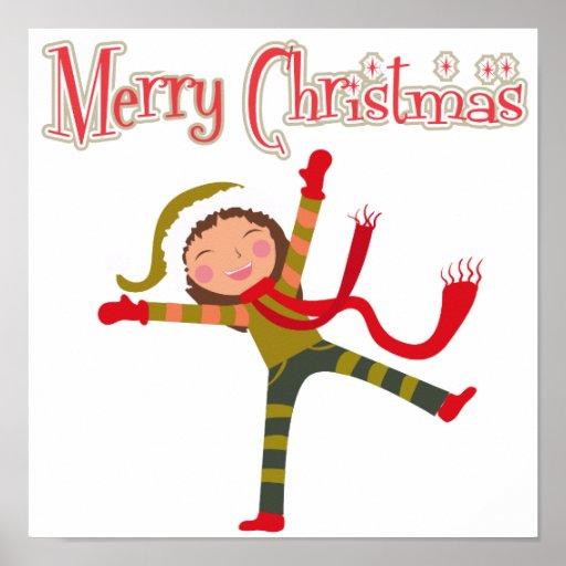 Merry Christmas Snow Angel Girl Poster