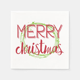 Merry Christmas Snow Bubbles Wreath Holiday Napkin Paper Napkin