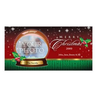 Merry Christmas Snow Globe Customizable 2 Personalized Photo Card