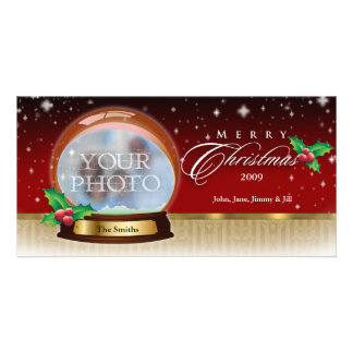 Merry Christmas Snow Globe Customizable 6 Personalised Photo Card