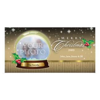Merry Christmas Snow Globe Customizable 7 Card