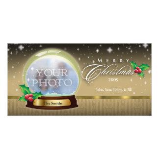 Merry Christmas Snow Globe Customizable 7 Photo Greeting Card
