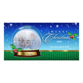Merry Christmas Snow Globe Customizable 8 Photo Cards
