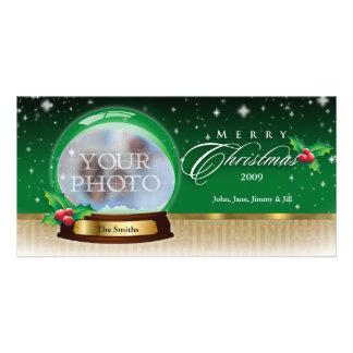 Merry Christmas Snow Globe Customizable GB Photo Card Template