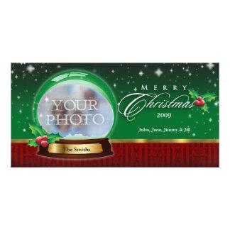 Merry Christmas Snow Globe Customizable Photo Card Template
