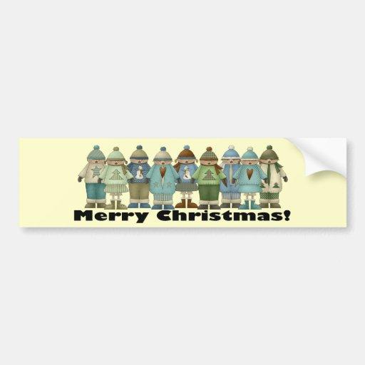 Merry Christmas Snow Kids Bumper Sticker