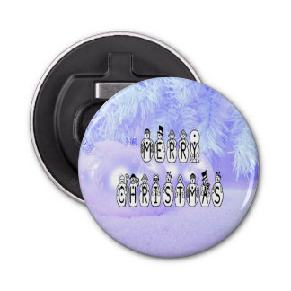 Merry Christmas Snow People Font, Blue Tint Snow Bottle Opener