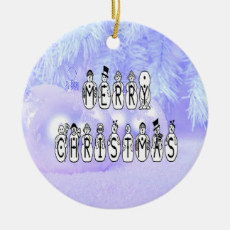 Merry Christmas Snow People Font, Blue Tint Snow Christmas Ornament