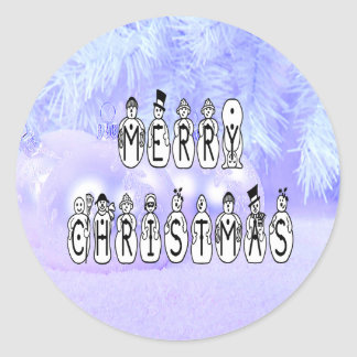 Merry Christmas Snow People Font, Blue Tint Snow Classic Round Sticker