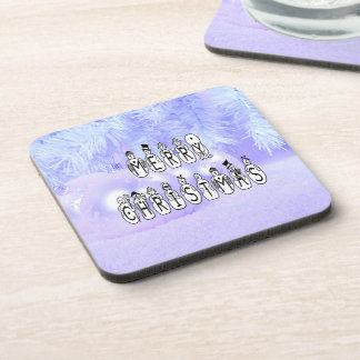 Merry Christmas Snow People Font, Blue Tint Snow Coaster