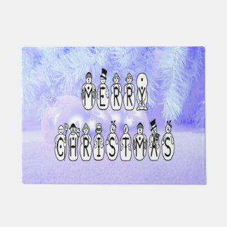Merry Christmas Snow People Font, Blue Tint Snow Doormat