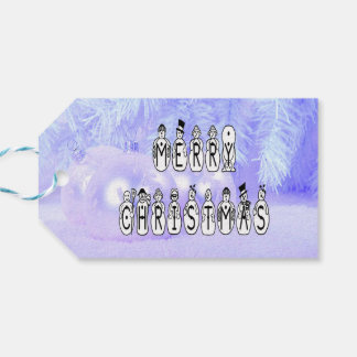 Merry Christmas Snow People Font, Blue Tint Snow Gift Tags