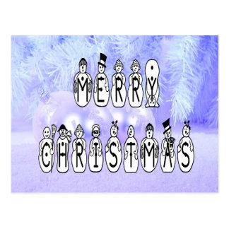 Merry Christmas Snow People Font, Blue Tint Snow Postcard