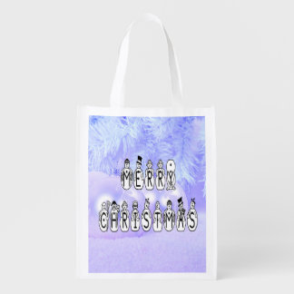 Merry Christmas Snow People Font, Blue Tint Snow Reusable Grocery Bag