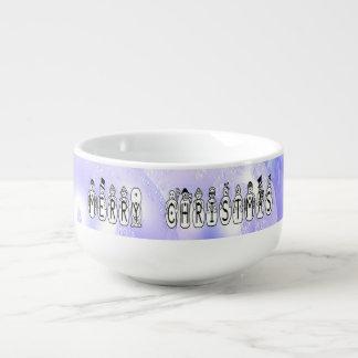 Merry Christmas Snow People Font, Blue Tint Snow Soup Mug