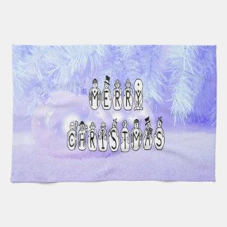 Merry Christmas Snow People Font, Blue Tint Snow Tea Towel