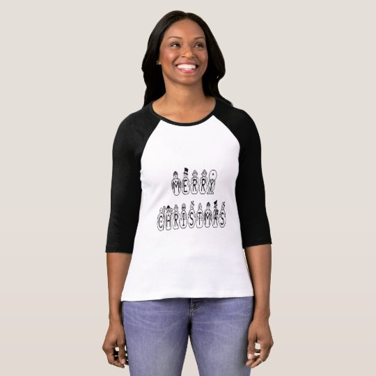 Merry Christmas Snow People Font Lady Raglan Shirt